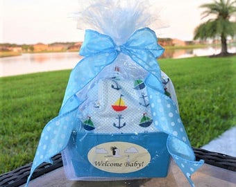Baby Gift Basket, Personalized for a Baby Boy - Burp Cloth & Bibs Set - Baby Shower Gift Basket Blue - New Mom Gift Basket - Newborn Gift