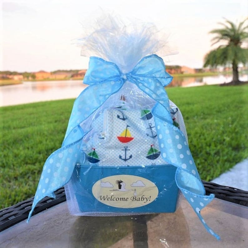 f59a9bab8455 Baby Gift Basket Personalized for a Baby Boy Burp Cloth