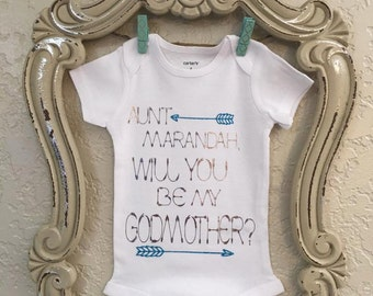 Will you be my God Mother/ Father Baby Onesie/Kids Shirt