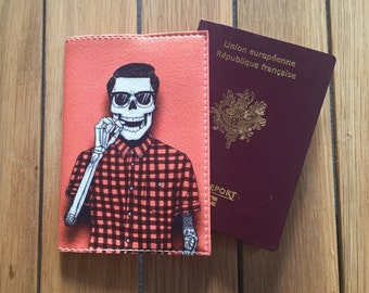 Wallet Passport Rose leather - skeleton
