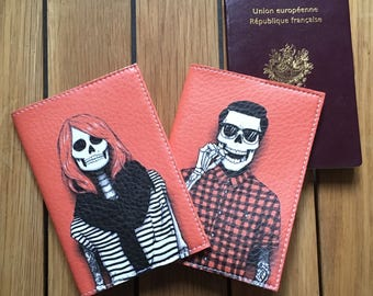 Pack Couple - two covers Passport leather - skeletons