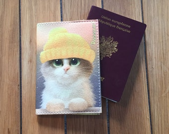 Wallet Passport leather - cute cat