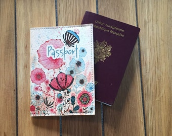 Case Passport leather - flowers Roses