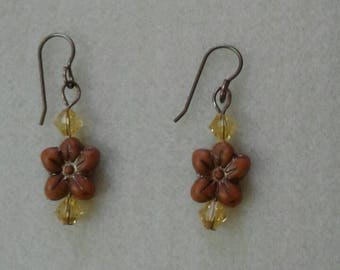 Orange Poppy Earrings