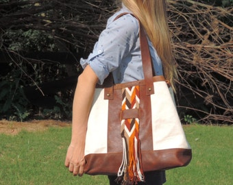 Leather canvas tote