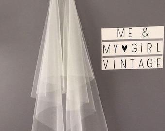 Fingertip Veil, Cut Edged Veil, Mid Length Veil, 2 Layer Veil, Waterfall Veil, Simple Veil, Tulle Veil, Sheer veil, Wedding Veil, Veil