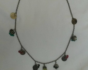Antique metal chain necklace with beaded charms