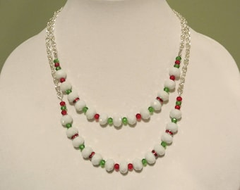 White, Red and Green Crystal Christmas Necklace
