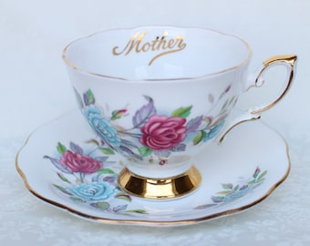 Royal Standard Mother Teacup and Saucer, Blue and Pink Roses Teacup and Saucer, Gift for Mom, Mother's Day, Mom's Birthday Gift