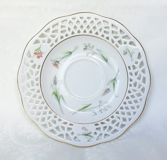 burg lindau porcelain set pierced trio tea cup saucer etsy