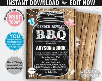 INSTANT DOWNLOAD / edit yourself now / BBQ / Gender reveal / Baby shower / invitation / invite / chalkboard / pink / blue / babyq / BSBBQ1