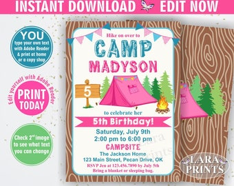 INSTANT DOWNLOAD / edit yourself now / Camp Birthday Invitation / Camping Invitation / Bonfire party invite / Glamping / Rustic Wood BDCamp8