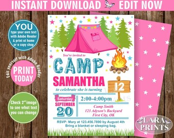 INSTANT DOWNLOAD / edit yourself now / Camp Birthday Invitation / Camping Invitation / Bonfire party invite / Glamping / Rustic Wood BDCamp7