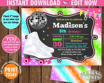 INSTANT DOWNLOAD / edit yourself now / Birthday Invitation / Roller Skates / Invite / Skating / Girl / Pink / Purple / Teal Chalkboard BDRS3