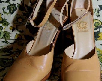Gianni Bravo Tan Square Toe Ankle Strap Heels