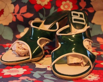 Miss Sixty Green Plastic Mules with Wooden Heels