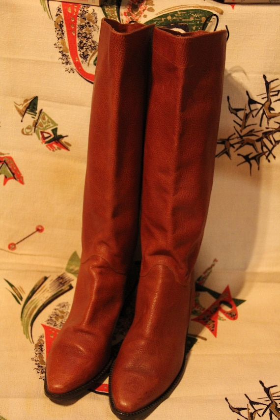 Glacee Brown Pebbled Leather High Riding Boots