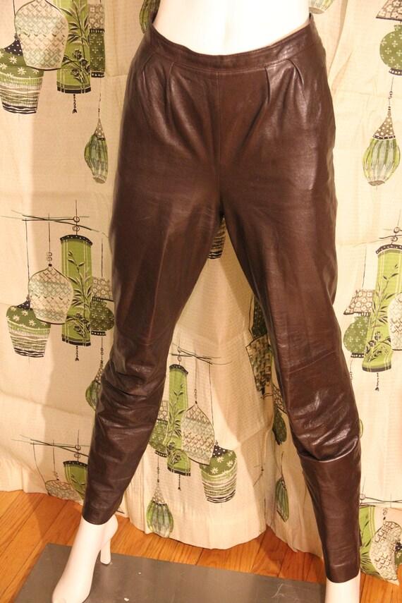 Women's Lillie Rubin Brown Leather Pants