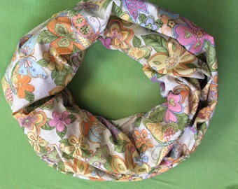 """Butterfly Infinity Scarf, 22"""" length butterfly and flowers infinity scarf, white infinity, single loop  infinity scarf"""