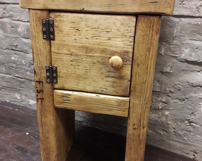 Handmade rustic bedside table side table reclaimed wood cupboard