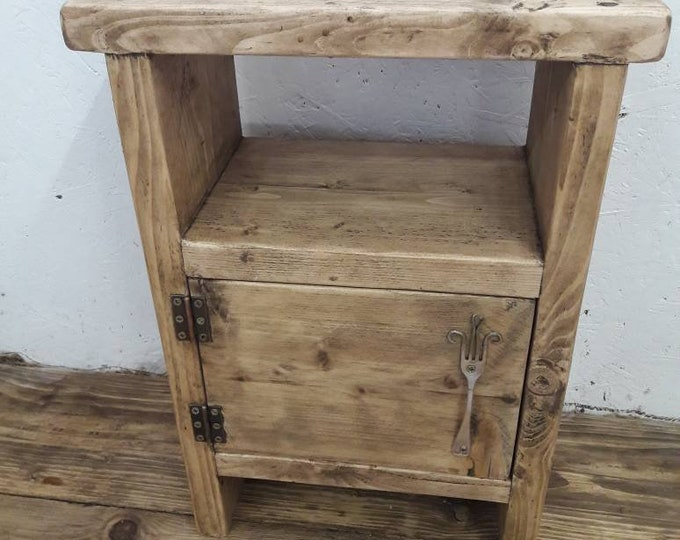 handmade wood bedside table side table rustic industrial