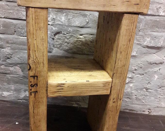 Rustic handmade bedside table side table reclaimed wood