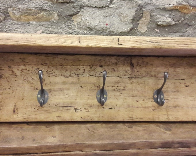 Handmade coat hook shelf hallway storage rustic reclaimed wood