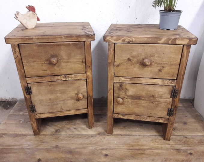 pair of handmade bedside table with drawer night stand vanity unit side table