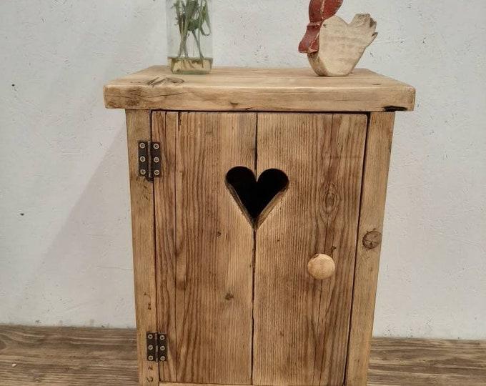 Handmade bedside table nightstand vanity unit washstand rustic reclaimed wood