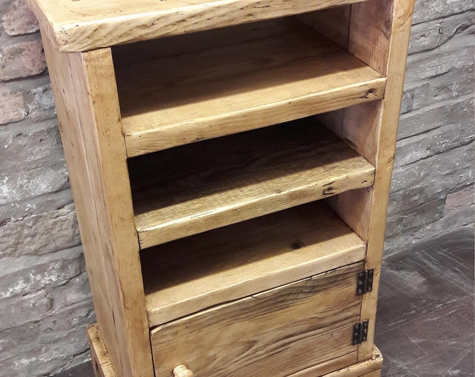 Handmade rustic washstand media unit cupboard shelves reclaimed wood