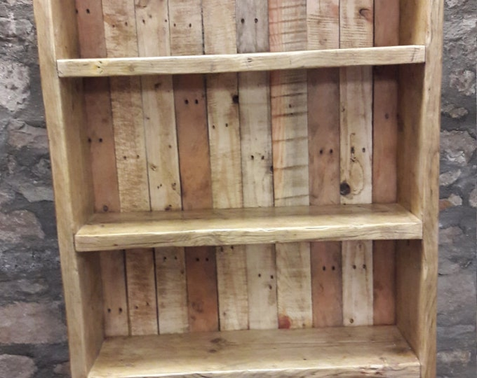 Handmade bookcase shelves rustic solid wood industrial