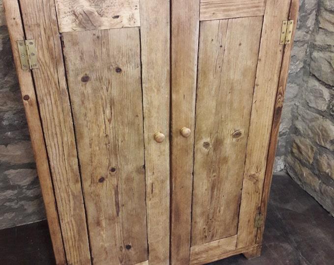 Linen press wardrobe kitchen cupboard amoire handmade reclaimed wood storage
