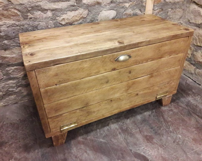 Hallway storage bench wooden unit shelves rustic