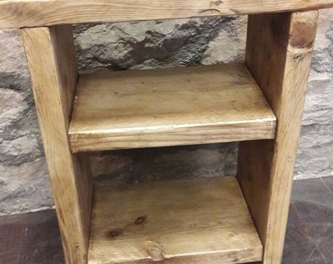 handmade bedside table side table nightstand rustic reclaimed wood industrial