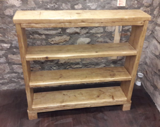 Handmade wooden bookcase shelf rustic reclaimed wood