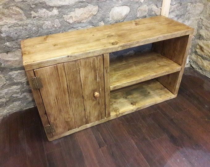 Handmade media TV unit hall bench storage reclaimed wood sideboard