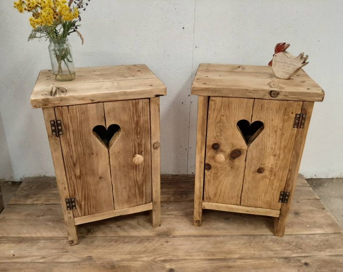 2 x Handmade bedside tables nightstands vanity units washstand reclaimed wood