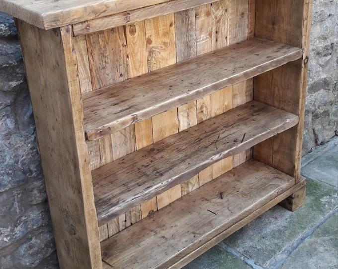 Handmade solid wood bookcase. reclaimed wood shelves rustic industrial