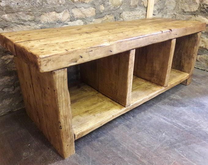 Handmade hall storage seating shoe storage media unit rustic solid reclaimed wood