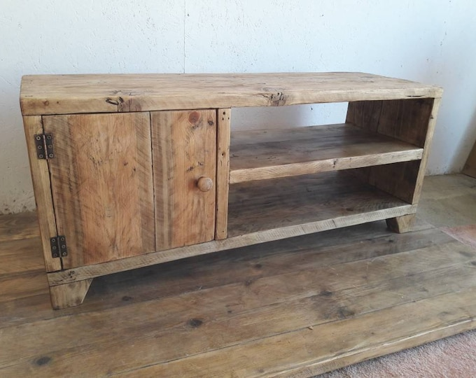 handmade tv media cabinet console unit industrial rustic reclaimed wood tv stand