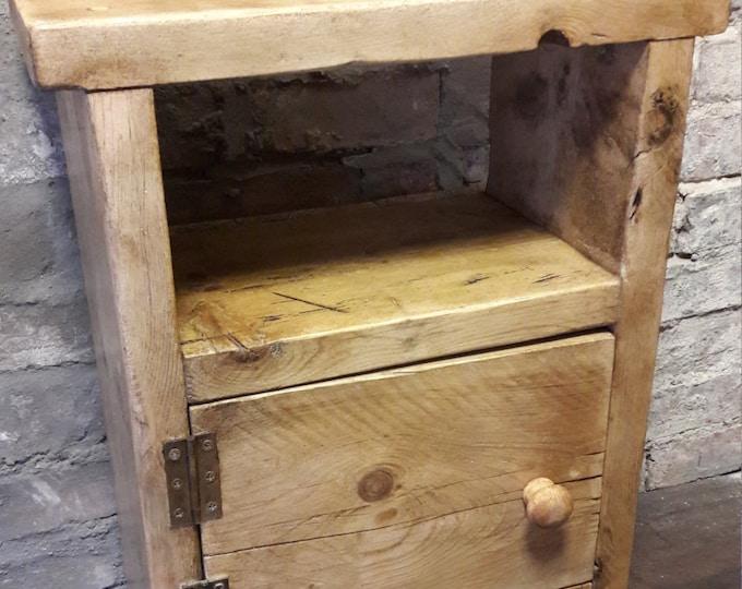 Handmade wood bedside table side table nightstand rustic reclaimed wood industrial