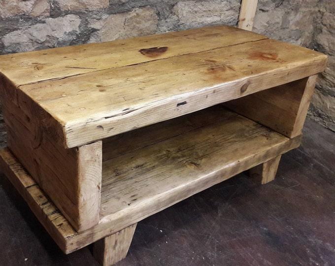 Hamdmade chunky rustic wooden tv media unit coffee table