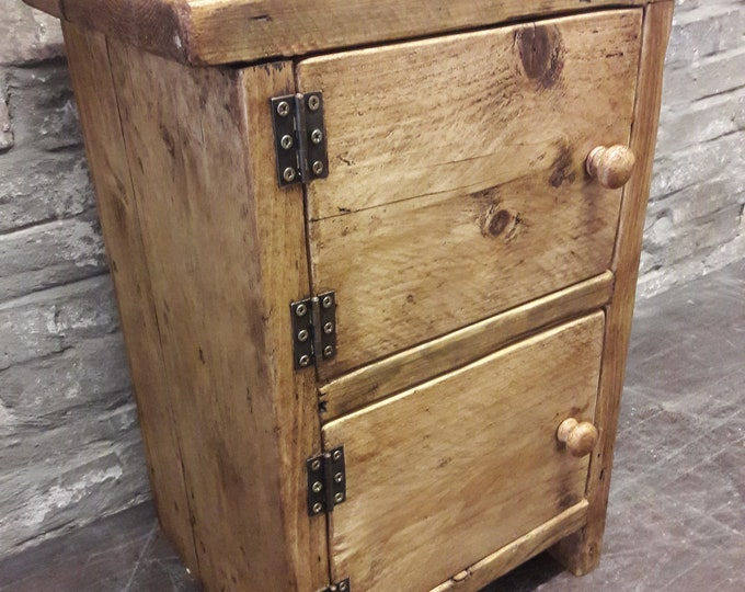 Handmade bedside table side table cupboard reclaimed wood
