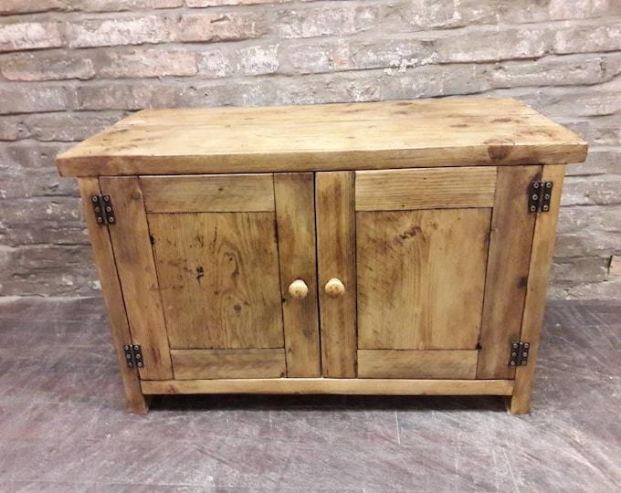 Handmade TV media unit stand rustic cupboard