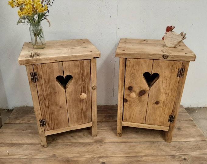 2 x Handmade bedside tables nightstands vanity units washstand reclaimed wood