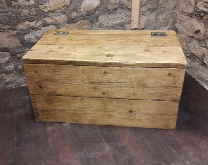 handmade  blanket box trunk chest storage box reclaimed wood rustic