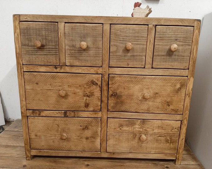 Handmade chest of drawers apothecary reclaimed wood vintage solid wood made to measure