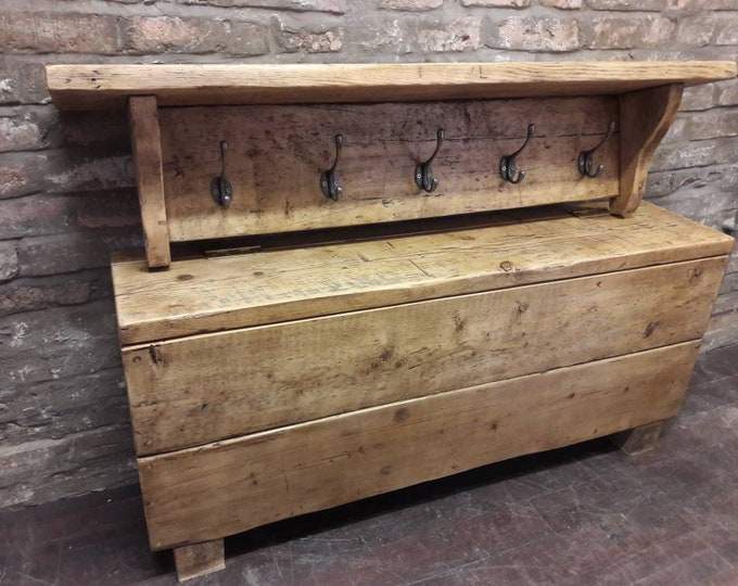 Hall bench and coat hook handmade rustic reclaimed wood