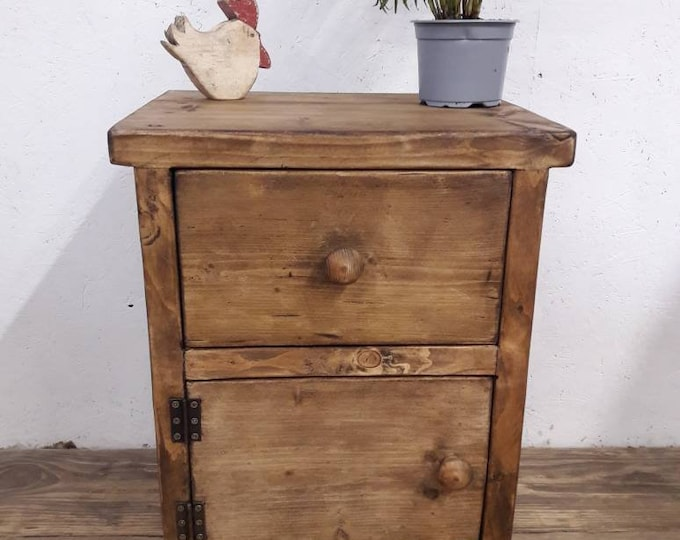 Handmade bedside table with drawer night stand vanity unit side table