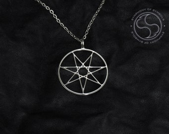35MM PAGAN 7 POINTED FAIRY STAR HEPTAGRAM SEPTAGRAM CHARM PENDANT NECKLACE